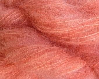 Mohair Yarn in Melon Orange Fingering Weight