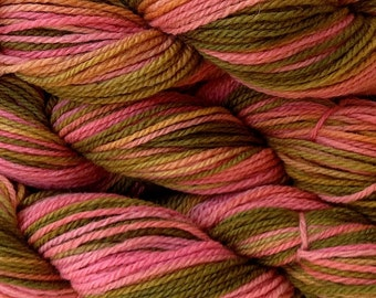 Hand Dyed Merino Wool Worsted Weight Yarn in Prickly Pear Hand Painted Pink Olive