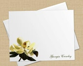 Southern Magnolia - Set of 8 CUSTOM Personalized Flat Note Cards/ Stationery