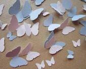Paper Butterflies   Wedding Table Decorations    125 pc    Blues Whites
