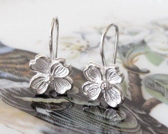 Dogwood Flower Earring Botanical Sterling Silver