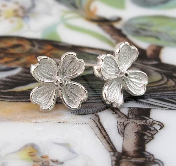 Dogwood Flower Earring Botanical Sterling Silver Post