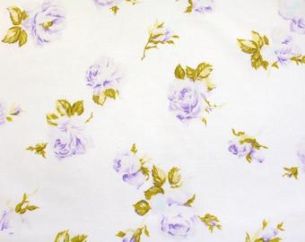 delicate purple roses bloom, a vintage sheet fat quarter