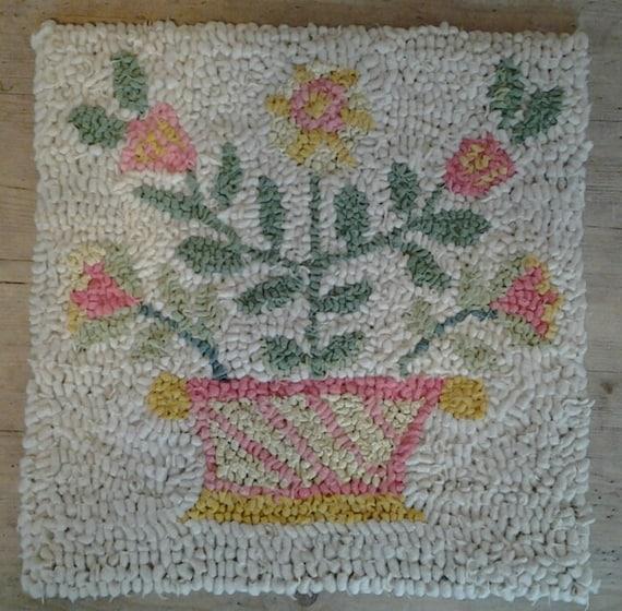 Rag Rug Wallhangingrag Rugrecycledtextile Art Hand Hooked