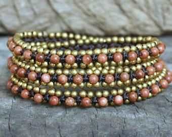 Gold Sand Wrap Around Brass Bracelet