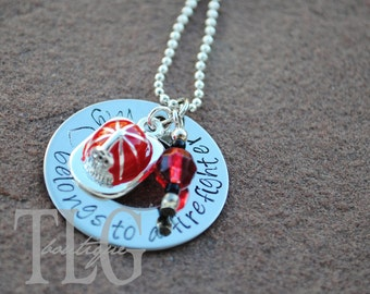 Hand Stamped Firefighter Necklace with Helmet Charm