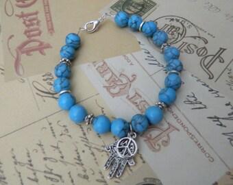 LOvely Turquoise Hamsa and Peace Bracelet