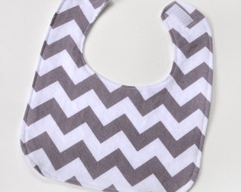 Baby Bib Gender Neutral Drool Bib, Baby Boy Bibs, Gray Chevron Baby Gift Infant Bib, New Mom