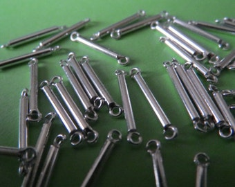 Sterling Silver Smooth Round Tube Connector - Count 12 pieces