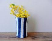 Blue Vase / Navy Blue and White Stripes / Painted Vases