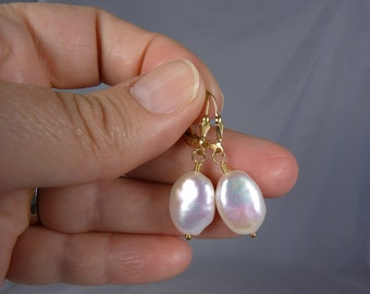 Large Keishi Style AAA Coin Pearl Earrings, Large AAA Lustrous Freshwater Coin Pearls, Shimmering Highlights, Gold Leverback Ear Wires