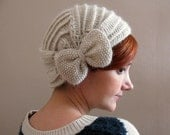 Light Cream Crochet Beret with Bow