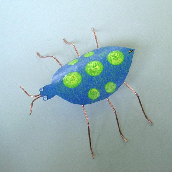 3D Metal Garden Art - Beetle - Handmade upcycled metal sculpture blue green