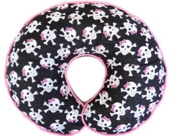 Baby Girl Boppy Pillow Slipcover Girly Skulls Nursing Pillow Cover Breastfeeding Pillow Punk Rock Rockabilly Nursery Decor Skull Bedding