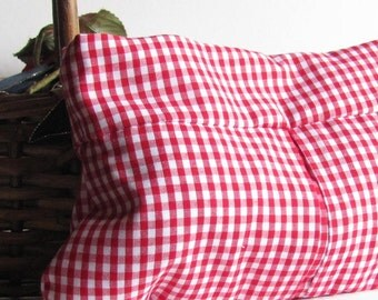 Red Gingham Clutch - Red and White Checks - Picnic Wedding