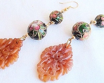 Beautiful Old Chinese  Carved Golden Jade Relief Cloisonne Vintage Earrings
