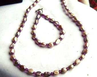 Mauve Purple Freshwater Pearl Necklace and Bracelet