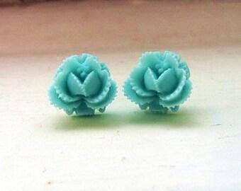 Mint rosebud post earring