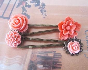 Coral hair bobby pin 4pcs cherry blossom, rose, dahlia
