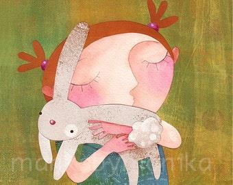 Vilma and the rabbit, print, wall decor