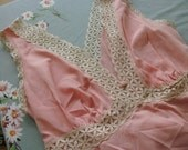 Vintage  1960 Vanity Fair Pink Night Gown With Lace trim