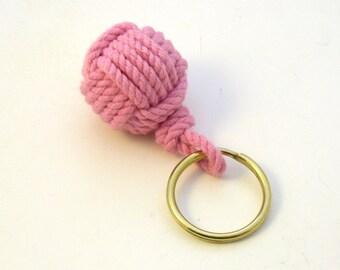 Nautical Key Fob Pink Cotton Monkey's Fist Keychain Brass split ring modern