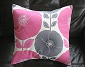 Decorative pillows poppy poppies pink bubblegum candyfloss gray grey silver design cushion shams UK designer fabric One 18 inch spring decor