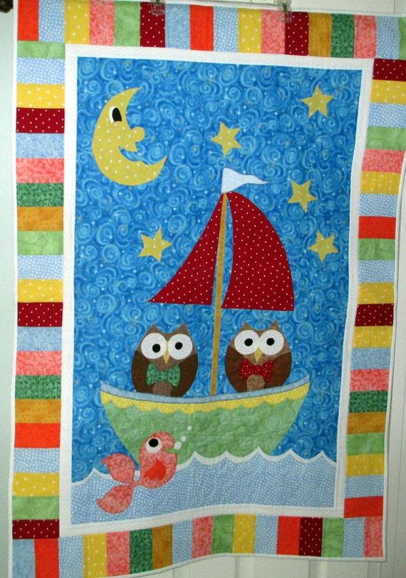 Owl Baby Quilt, Baby Shower Gift, Nursery Wallhanging, Handmade Nursery Decor