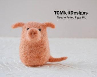 Kit, Needle Felting Piggy, beginners complete animal wool fiber pig kit