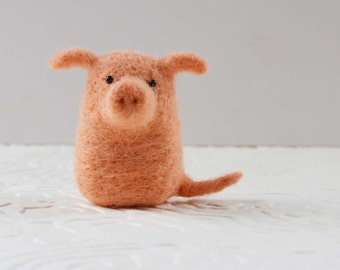 Piggykitts, needle felted pink pig animal fiber art