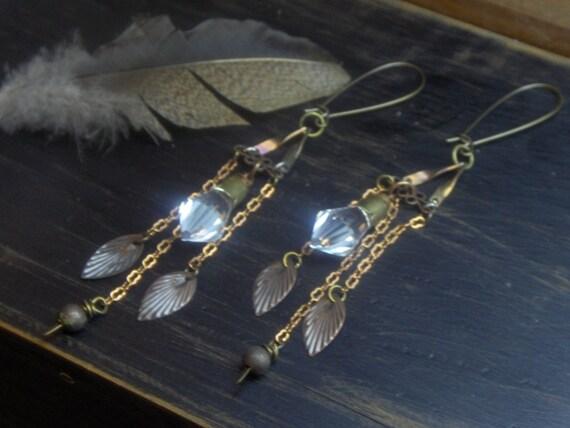EVENSTAR OF ARWEN -Bohemian Woodland Gyspsy  Earrings. Crsytal prism points and rustic copper leaf trinkets