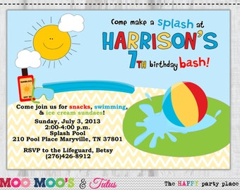Printable SPLISH SPLASH Birthday Invitation By Moo Moo's & Tutus Design Studio