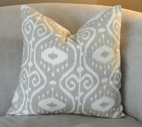 Light Gray Decorative Pillow : Light Gray Ikat Decorative Throw Pillow 18x18 by PavonaInteriors