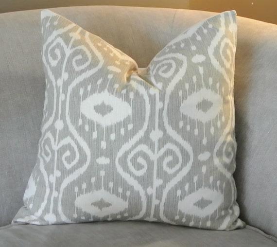 Light Gray Decorative Pillow : Light Gray Ikat Decorative Throw Pillow 18x18 by PavonaInteriors