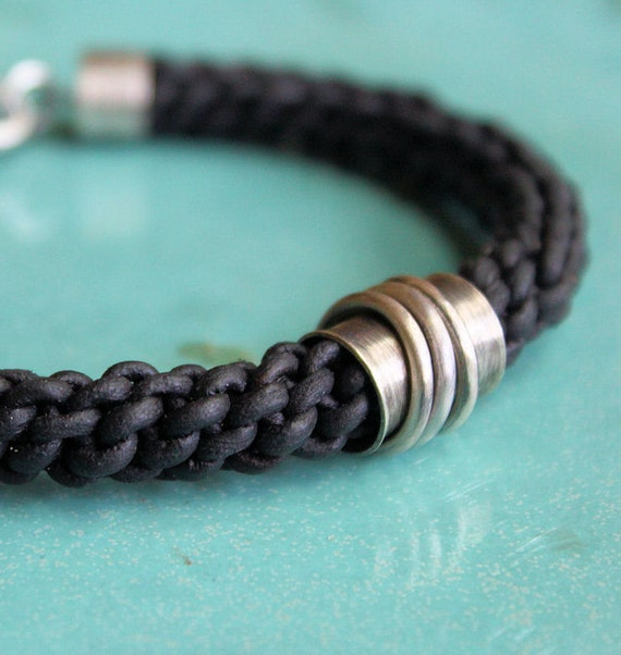 Mens Silver Leather Bracelet Thick Black Braid Tube Bead