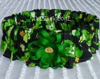 "Lucky Dogs St. Patricks Day Scrunchie with flower bow & button  - Size XXL: 20"" to 22"" neck - TrY Me PRiCe"