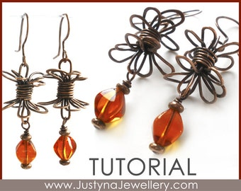 Wire Jewelry Tutorial, Wrapping Earrings Tutorial, Wire Wrapping Jewelry Pattern, PDF Beading Earrings Tutorial, Butterfly Earrings