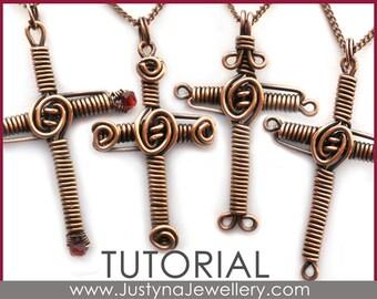 Cross Tutorial, Wire Cross Pattern, Wire Wrapping Pendant Tutorial, Wirewrapped Cross Pattern, Wirewrapped Jewelry Tutorial, Pdf Tutorial