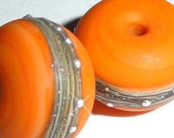 Silvered Mango....Set of -2- Etched or Glossy Handmade Lampwork Beads  orange silver bright sunshine happy.....BeatleBabyGlassworks