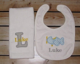 Personalized Bib and Burp cloth Gift Set Baby Boy Initial Name Airplane