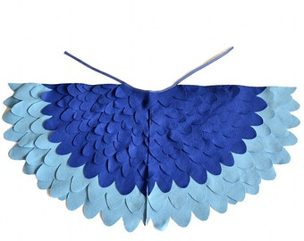 Kids Bird Costume Wings Children Blue Macaw Dress up Wings, Girls and Boys, Toddlers