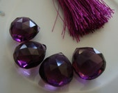 Gorgeous Plum Quartz Faceted Heart Briolettes 4 Pcs 14 to 15mm