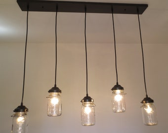 CHANDELIER Vintage Mason Jar Pendant Lights Rectangular FIVE Ceiling Lighting Fixture by LampGoods