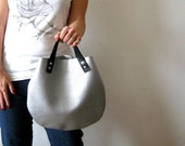 Silver leather  basket bag ,Cross-body bag, handbag