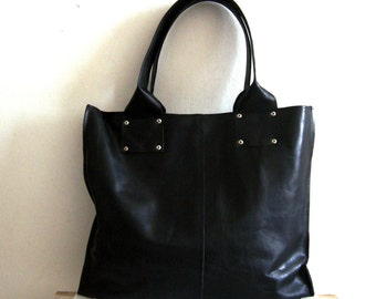 Black Oversize leather  bag - wonen leather bag - every day bag  - leather tote