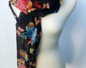 Vintage scarf Victorian style print butterflies and cabbage roses on navy chiffon