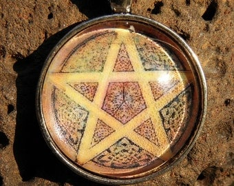 Wiccan Brown Earth Element Pentacle P9 Pentagram Glass Necklace Pagan