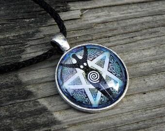 Wiccan Spiral Goddess Pentacle P1 Pentagram Glass Necklace Pagan