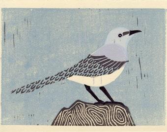 MOCKINGBIRD - Original Handmade Linocut Oil Paint Art Block Print with Blue, Lavender, Gray, Light Blue, Room Decor, Wall Art