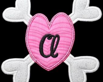Bones Heart Applique Monogram Font